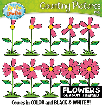 Spring Flowers Counting Pictures Clipart {Zip-A-Dee-Doo-Dah Designs}
