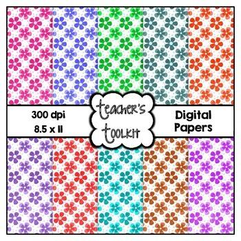 Spring Flowers Digital Background Papers {8.5 x 11} Clip Art CU OK