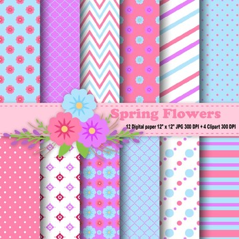 Spring Flowers Digital Paper & Clipart