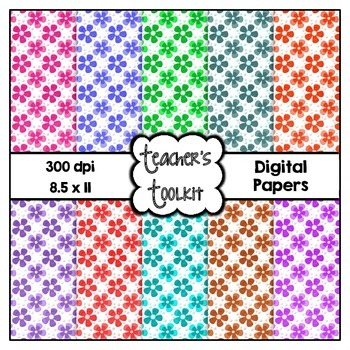 Spring Flowers Digital Background Papers {8.5 x 11} Clip A