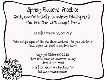 Spring Flowers Following Directions Activity