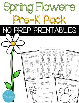 Spring Flowers No Prep Pre-K Bundle
