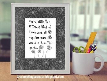 Celebrate Differences, Chalkboard Classroom Decor Poster, Flower Theme