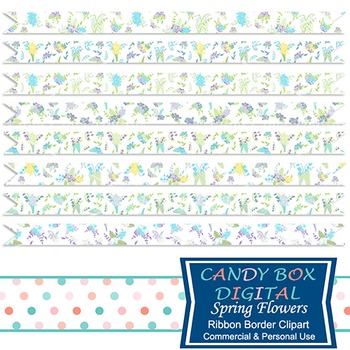Spring Flowers Ribbon Borders