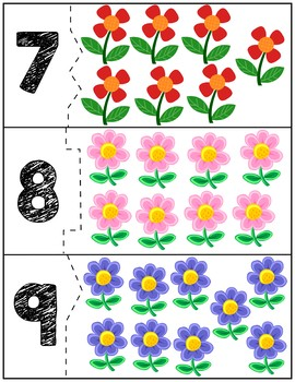 Spring Flowers Self Correcting Quantity Puzzles | Numbers 1-12