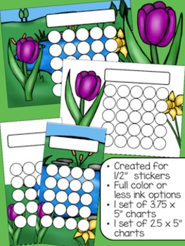 Spring Flowers Sticker Incentive Charts - Full Color and Less-Ink Options