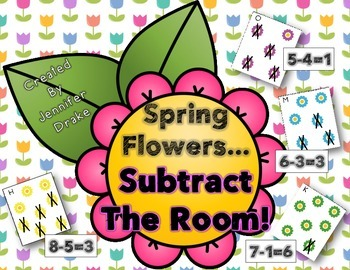 Spring Flowers Subtract The Room!  18 Picture Cards, Recording & Answer Sheet!