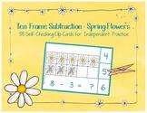 Spring Flowers Ten Frame Subtraction Clip Cards