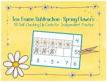 Spring Flowers Ten Frame Subtraction Clip Cards