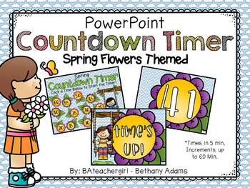 Spring Flowers Themed PowerPoint Timer - Up to 60 Min!