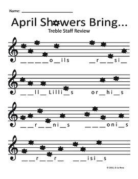 Spring Flowers Treble Staff Worksheet