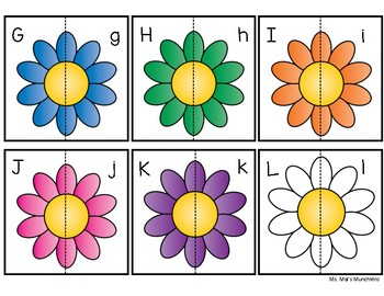 Spring Flowers Uppercase to Lowercase Alphabet Match