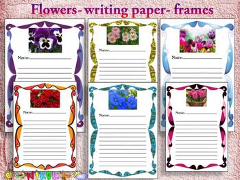Flowers - Flowers Activities - Writing paper - Frames