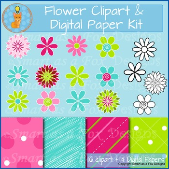 Spring Flowers and Digital Papers Bundle in Pink and Green