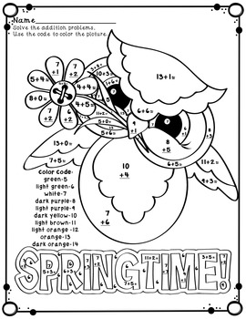 Spring Flowers and Owls Color by Code Addition Facts