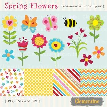 Spring Flowers clip art images, flower clipart, flower vector