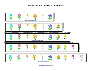Spring Flowers operations cards prek primary math addition subtraction