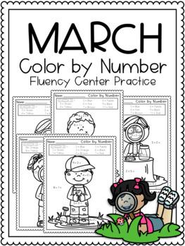 Spring: Color by Number - NO PREP, Math Fluency Center