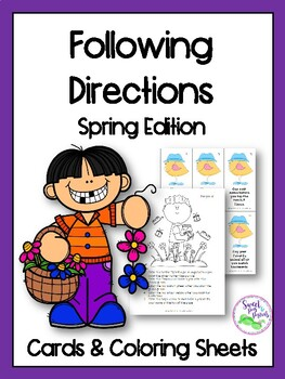 Spring Following Directions Cards & Coloring Sheets