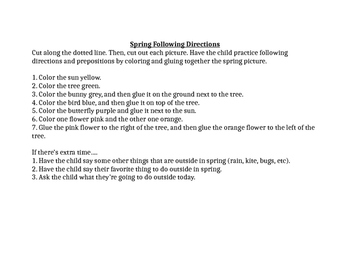 Spring Following Directions and Prepositions