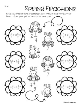 Spring Fraction Match: Addition / Subtraction