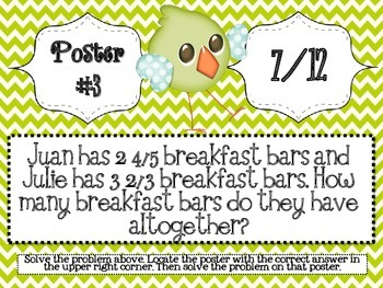 Spring Fraction Word Problem Scavenger Hunt - 5.NF.2