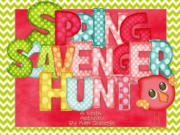 Spring Fraction Word Problem Scavenger Hunt - 5.NF.2