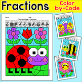 Spring Color by Fractions Worksheets - Halves, Thirds, Fourths, Fifths & Sixths