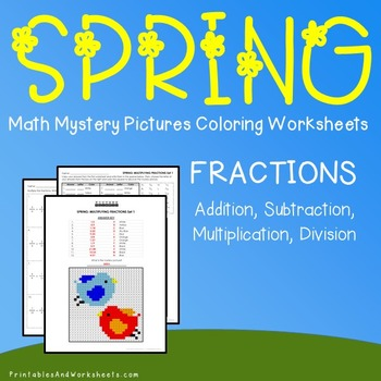 Spring Coloring Mystery Pictures Fractions Worksheets