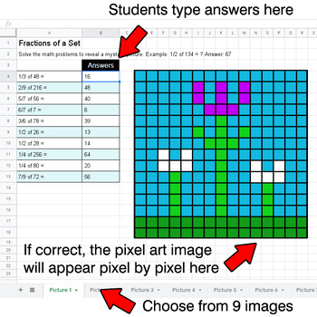 Spring - Fractions of a Set - Google Sheets Pixel Art