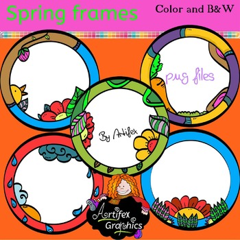 Spring Frames clip art - Color and black/white- FREE!!