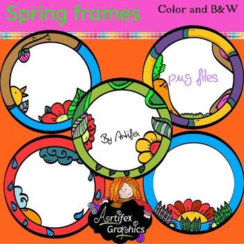 Spring Frames clip art - Color and black/white- FREE!!