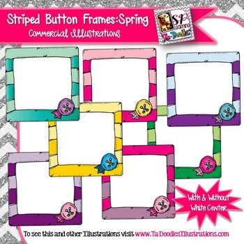 Spring Frames with Stripes and Buttons Clip Art