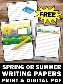 FREE Spring Writing Paper, Summer Writing Paper, Summer School Activities
