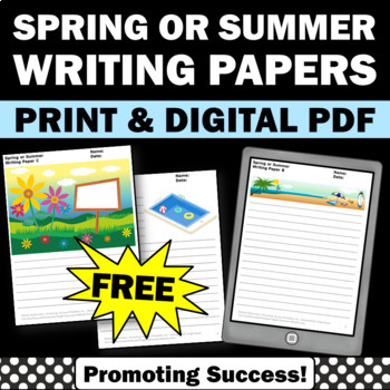 free spring or summer writing papers literacy centers for kids
