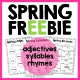 Spring Freebie: Adjectives, Syllables, Rhymes