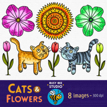Freebie Clip Art : Cats and Flowers