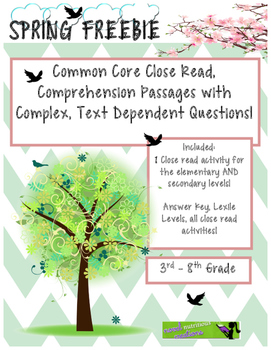 Spring Freebie - Close Read Selections for Elementary and