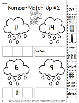 Spring Freebie! Ways to Show Numbers Cut-and-Paste Match Grades K-1