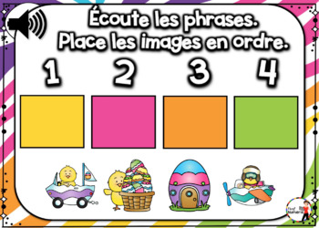 Spring French BOOM card - Écoute et replace les phrases (AVRIL : Jeu 5)