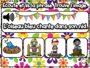 Spring French BOOM cards - Écoute et lis la phrase. (AVRIL : Jeu 2)