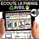 Spring French BOOM cards - Écoute et lis la phrase. (AVRIL