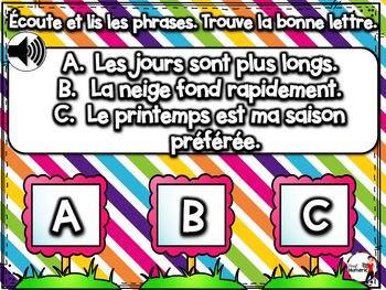 Spring French BOOM cards-Écoute et lis les phrases. (AVRIL : Jeu 3)