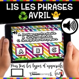 Spring French BOOM cards-Écoute et lis les phrases. (AVRIL