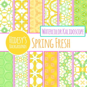 Spring Fresh Green and Yellow Backgrounds / Digital Papers Clip Art Set