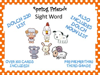 Spring Friends Sight Word cards