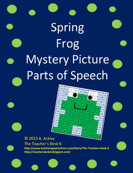 Spring Frog Mystery Picture Parts of Speech