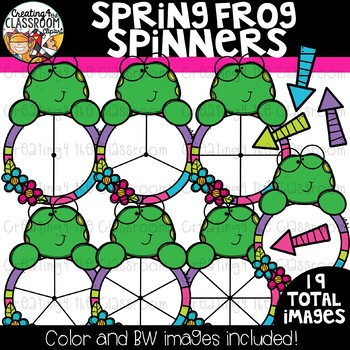 Spring Frog Spinners Clipart {Frog Clipart}