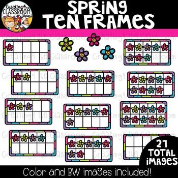 Spring Frog Ten Frames Clipart {Spring Clipart}