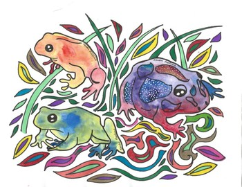 Spring Frogs Coloring Sheets